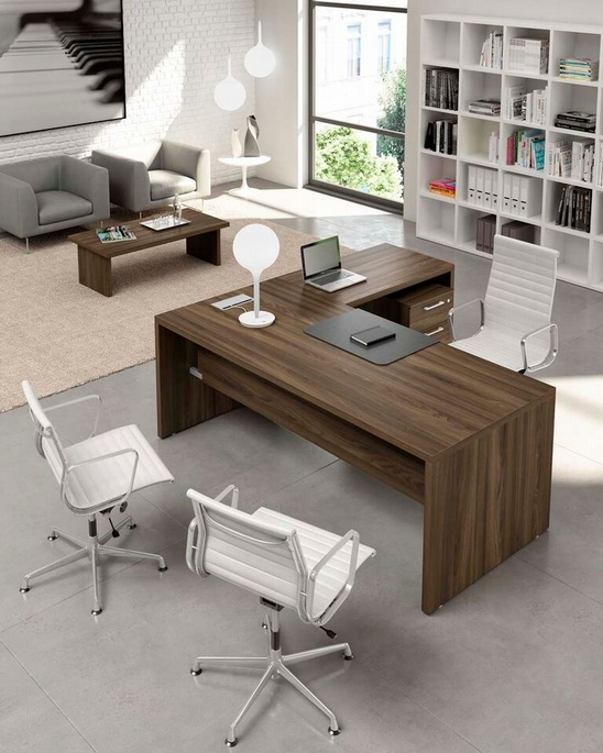 Ufficio direzionale mod happy plus con fianchi in legno for Ufficio completo