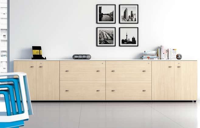 Mobili bassi h 80 h 120 in legno ecoufficio for Mobile basso ufficio